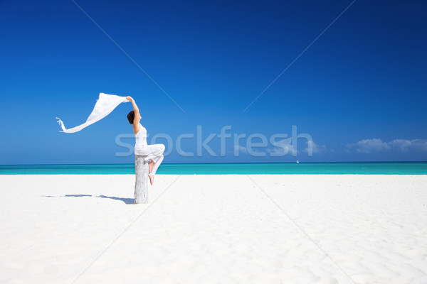 happy woman on the beach Stock photo © dolgachov