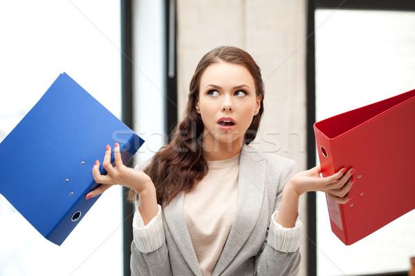 Stockfoto: Vrouw · mappen · heldere · foto · mooie · vrouw · business