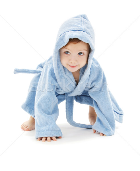 Baba fiú kék köntös fehér gyermek Stock fotó © dolgachov