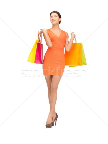Klant foto vrouw gelukkig winkelen Stockfoto © dolgachov