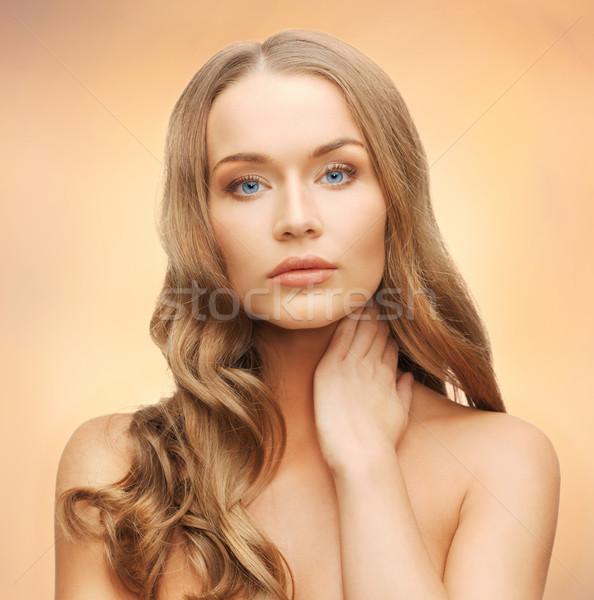 美人 長髪 顔 手 女性 肖像 ストックフォト © dolgachov