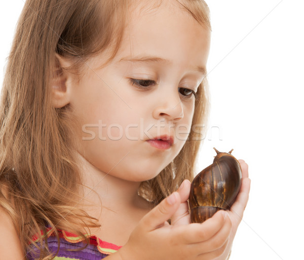 litle girl with snail Stock photo © dolgachov