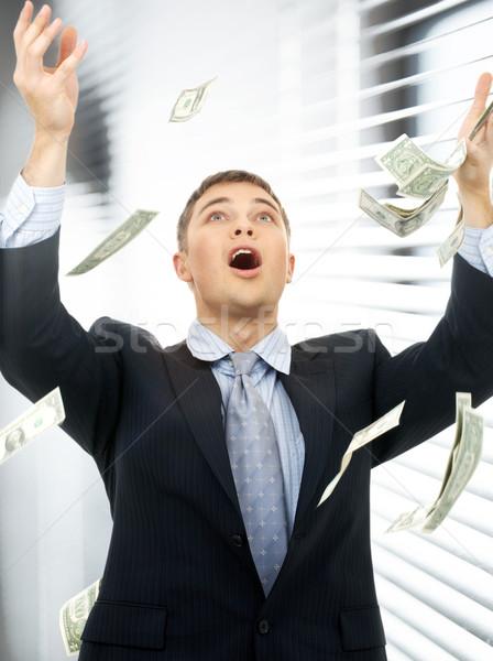 Zakenman geld regen binnenshuis gelukkig geslaagd Stockfoto © dolgachov