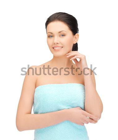 Gyönyörű nő meditál törölköző fényes kép nő Stock fotó © dolgachov