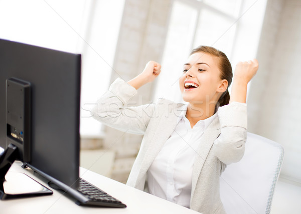 Stok fotoğraf: Işkadını · bilgisayar · ofis · resim · mutlu · kadın