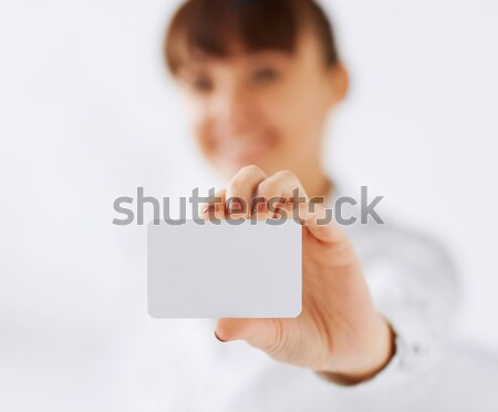 businesswoman showing blank card Stock photo © dolgachov