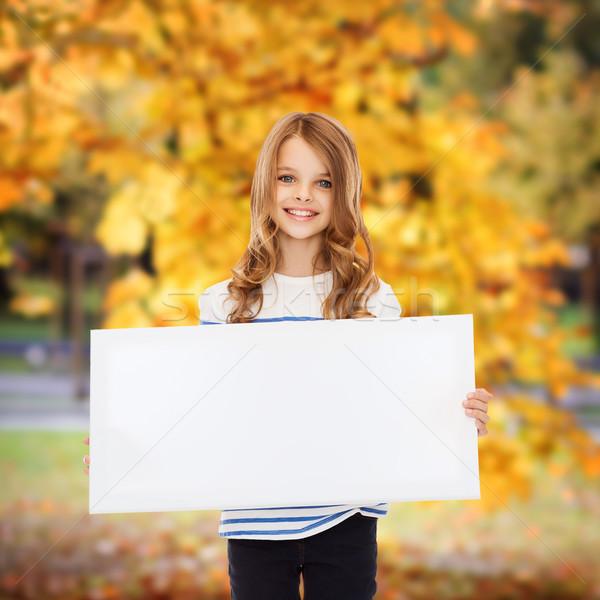 Kislány fehér tábla oktatás tábla gyermek diák Stock fotó © dolgachov