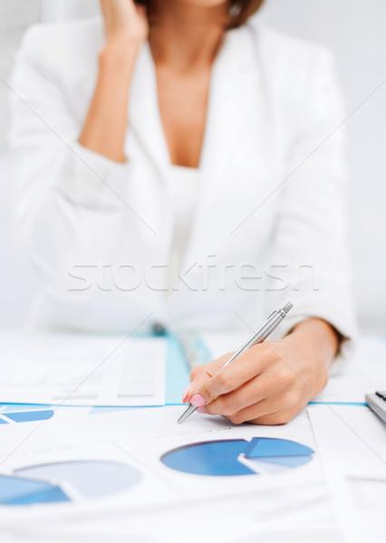 Nő iratok elvesz telefonbeszélgetés üzlet iroda Stock fotó © dolgachov