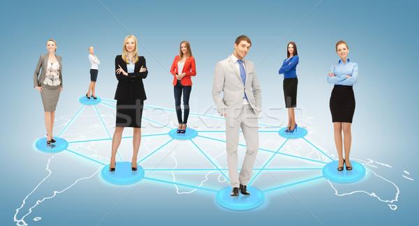 Społecznej business network działalności biuro kobiet biznesmen Zdjęcia stock © dolgachov