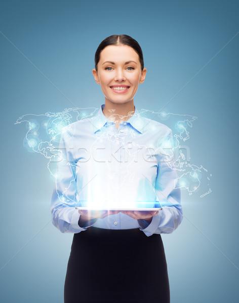 女性実業家 世界 ホログラム ビジネス 技術 ストックフォト © dolgachov