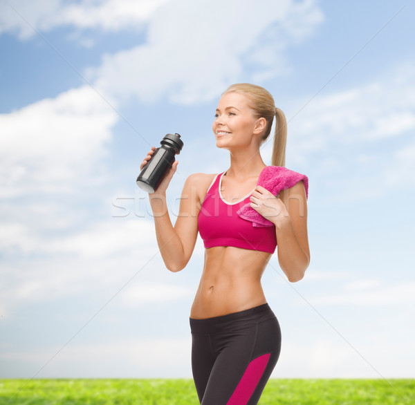 sporty woman drinking water from sportsman bottle Stock photo © dolgachov