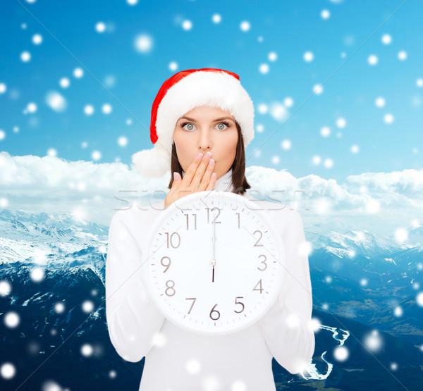 女性 サンタクロース ヘルパー 帽子 クロック ストックフォト © dolgachov