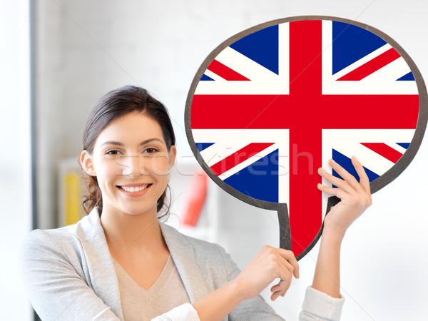 Sorrindo texto bolha educação estrangeiro Foto stock © dolgachov