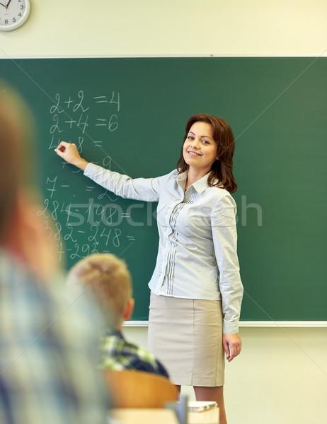 школы дети учитель Дать доске образование Сток-фото © dolgachov