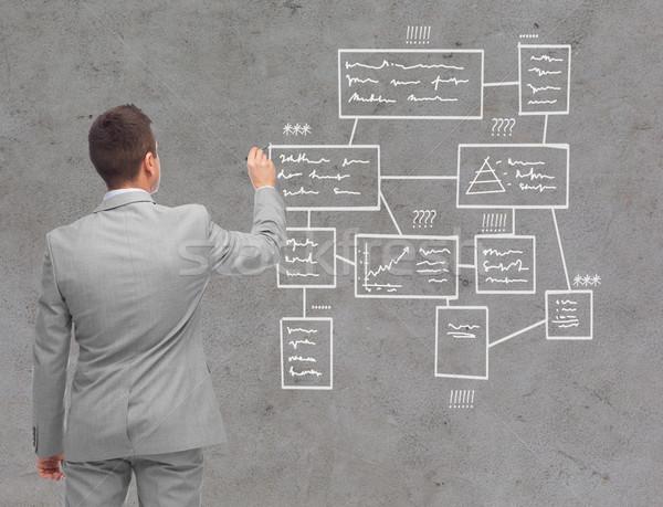 Empresario escrito dibujo gente de negocios anuncio información Foto stock © dolgachov