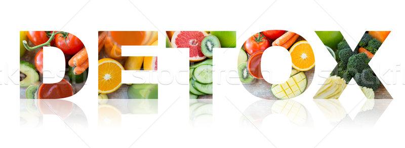 Detoxikáló egészséges étkezés vegetáriánus diéta szó dzsúz Stock fotó © dolgachov
