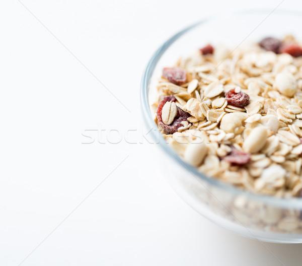 Közelkép tál granola müzli asztal étel Stock fotó © dolgachov