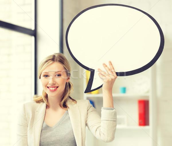 Foto stock: Sonriendo · mujer · de · negocios · texto · burbuja · Foto · negocios