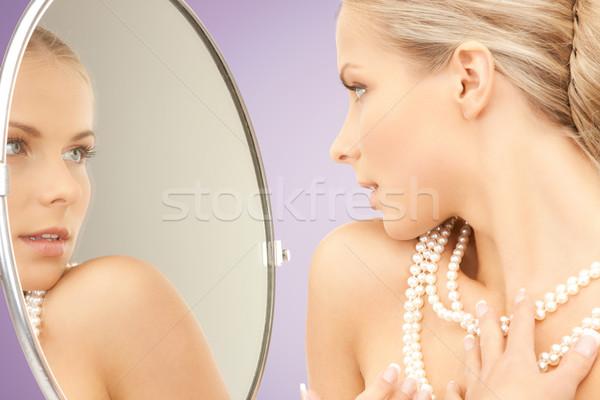 美人 真珠 ネックレス ミラー 美 高級 ストックフォト © dolgachov
