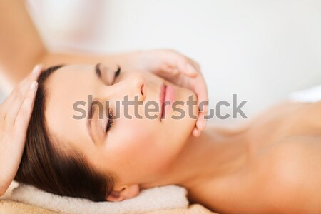 beautiful woman with closed eyes in spa Stock photo © dolgachov