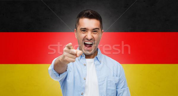 öfkeli adam işaret parmak bayrak duygular Stok fotoğraf © dolgachov