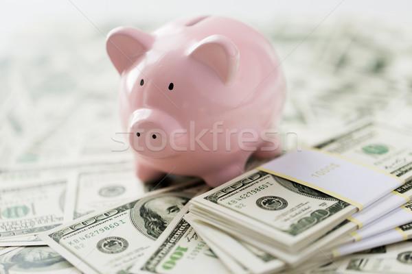 Közelkép dollár pénz rózsaszín persely üzlet Stock fotó © dolgachov