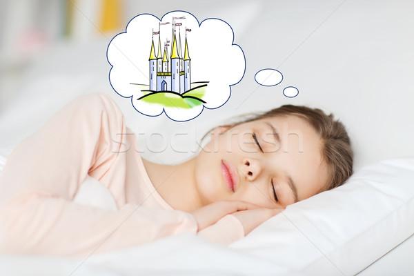 Meisje slapen bed kasteel mensen Stockfoto © dolgachov