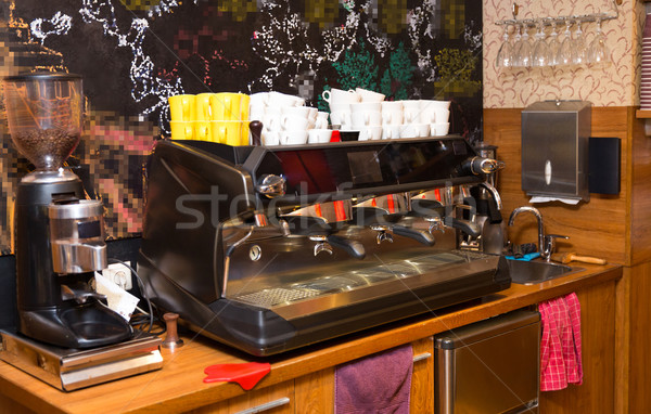 close up of coffee machine at cafe or restaurant Stock photo © dolgachov