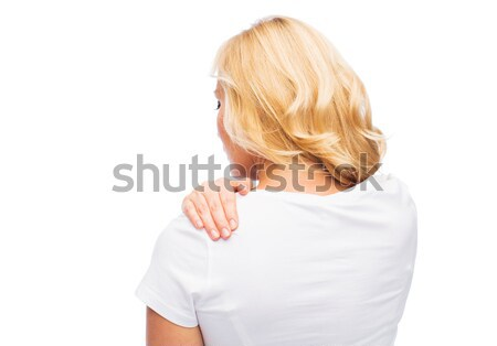 Zdjęcia stock: Kobieta · cierpienie · ból · szyi · ludzi · opieki · zdrowotnej · problem