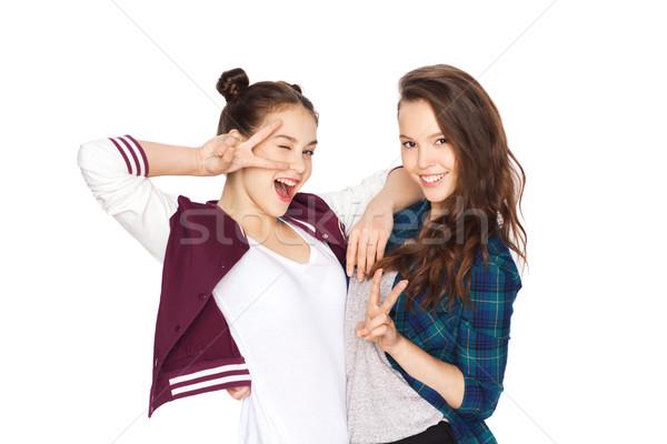 счастливым довольно мира рукой знак Сток-фото © dolgachov