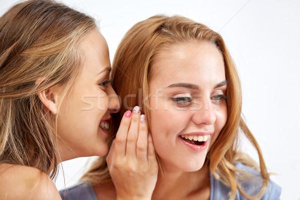 Heureux jeunes femmes chuchotement potins maison amitié Photo stock © dolgachov