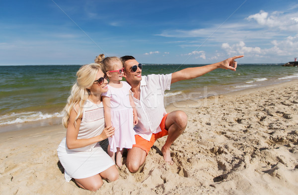 幸せな家族 サングラス 夏 ビーチ 旅行 休暇 ストックフォト © dolgachov