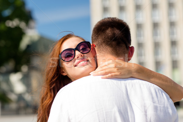 Glimlachend paar stad liefde bruiloft zomer Stockfoto © dolgachov