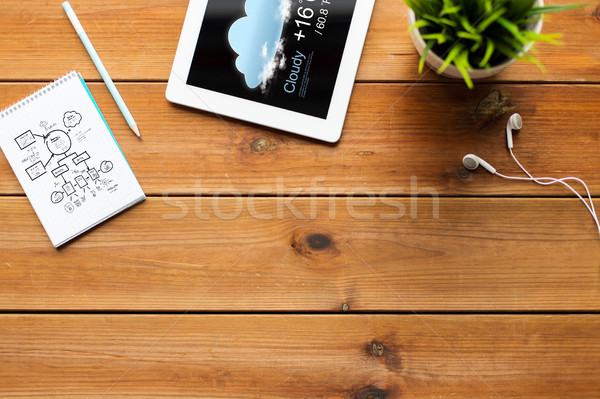 close up of tablet pc with weather forecast Stock photo © dolgachov