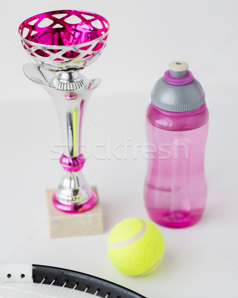 close up of tennis racket, ball, cup and bottle Stock photo © dolgachov