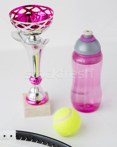 Tennisracket bal beker fles sport Stockfoto © dolgachov