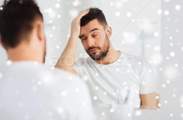 сонный молодым человеком зеркало ванную утра пробуждение Сток-фото © dolgachov