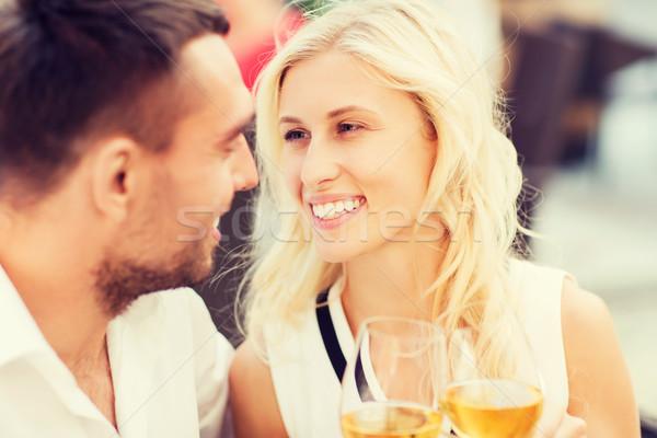 Boldog pár szemüveg étterem társalgó szeretet Stock fotó © dolgachov