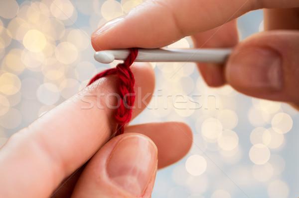 рук вязанье крюк люди Сток-фото © dolgachov
