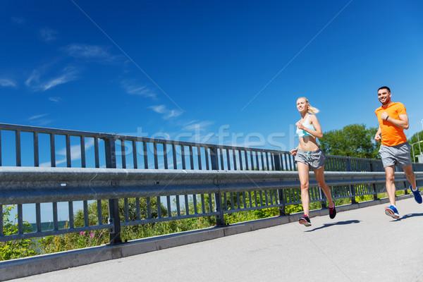 Stockfoto: Glimlachend · paar · lopen · zomer · fitness