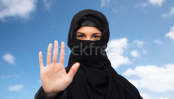 мусульманских женщину хиджабе знак остановки жест Сток-фото © dolgachov