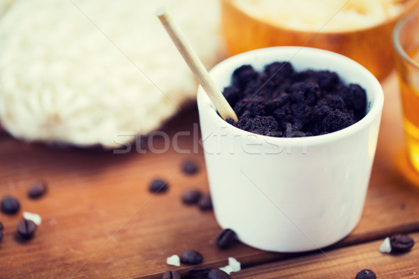 close up of coffee scrub in cup on wooden table Stock photo © dolgachov