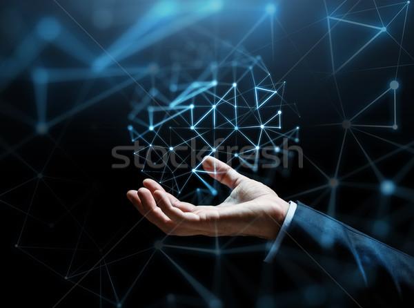 ビジネスマン 手 バーチャル ネットワーク 投影 ビジネス ストックフォト © dolgachov