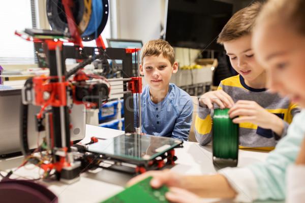 Mutlu çocuklar 3D yazıcı robotik okul Stok fotoğraf © dolgachov