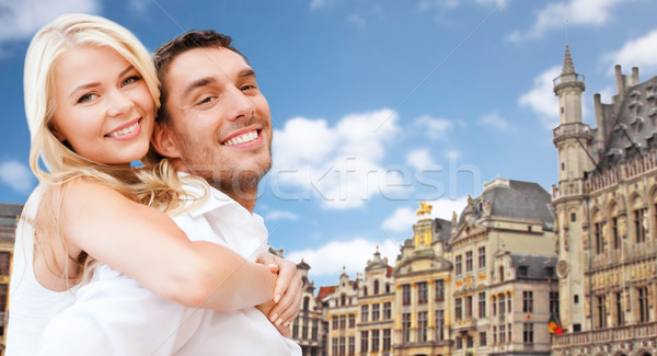 Feliz Pareja lugar Bruselas viaje turismo Foto stock © dolgachov