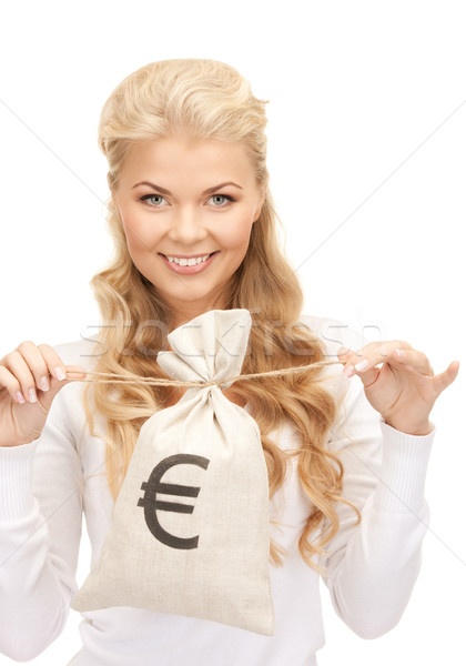 woman with euro signed bag Stock photo © dolgachov