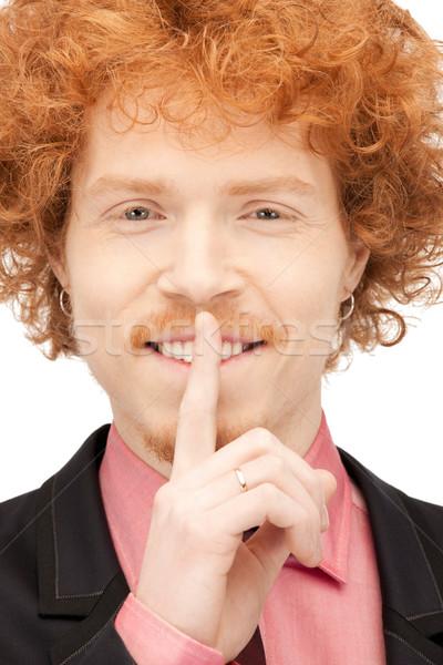 Dedo lábios brilhante quadro homem bonito mão Foto stock © dolgachov