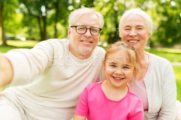 Senior Großeltern Enkelin Familie Generation Menschen Stock foto © dolgachov