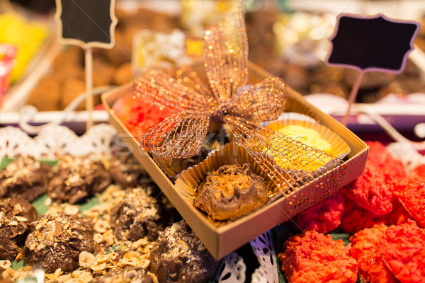 craft sweets and cookies at christmas market stall Stock photo © dolgachov