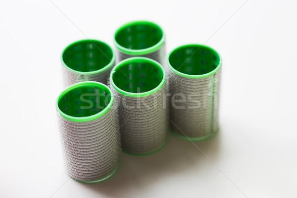 green hair curlers or rollers Stock photo © dolgachov